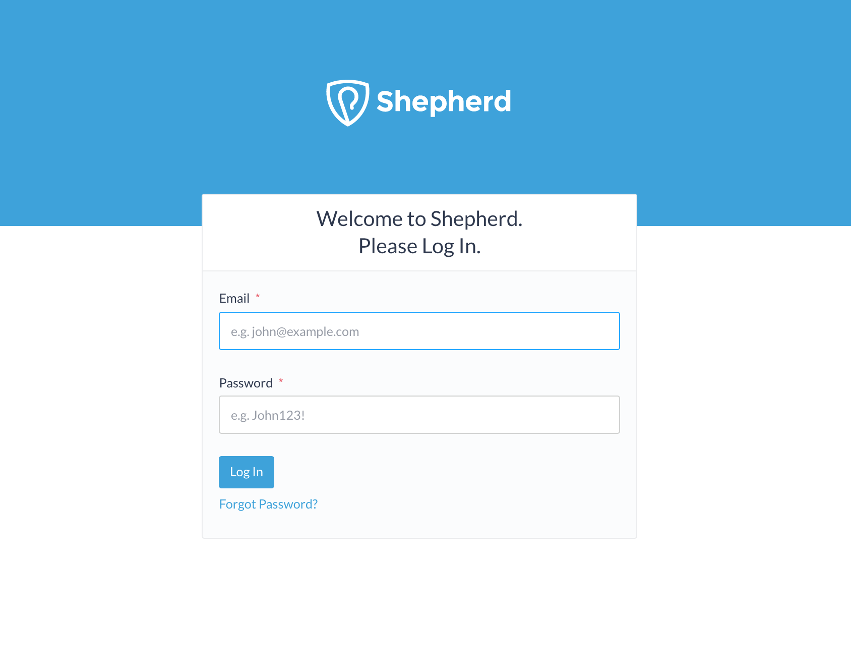 the Shepherd login screen